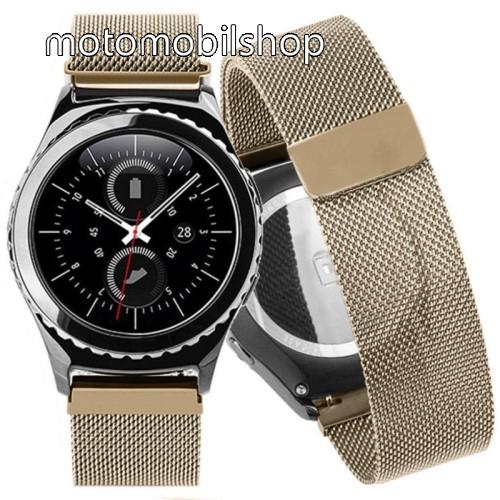 Okosóra milánói szíj - rozsdamentes acél, mágneses - PEZSGŐ ARANY - 205mm hosszú, 20mm széles - SAMSUNG Galaxy Watch 42mm / Xiaomi Amazfit GTS / SAMSUNG Gear S2 / HUAWEI Watch GT 2 42mm / Galaxy Watch Active / Active 2