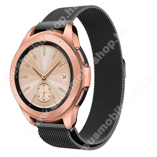 Okosóra milánói szíj - rozsdamentes acél, mágneses - FEKETE - 235 mm hosszú, 20 mm széles, max 225mm-es csuklóra - SAMSUNG Galaxy Watch 42mm / HUAWEI Watch GT 2 42mm
