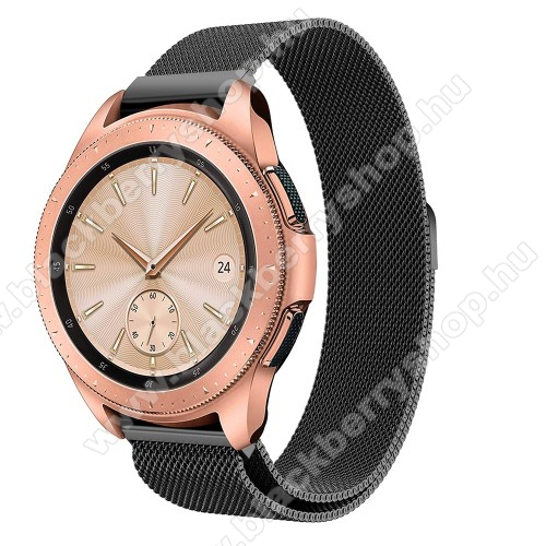 Okosóra milánói szíj - rozsdamentes acél, mágneses - FEKETE - 235 mm hosszú, 20mm széles, max 225mm-es csuklóra - SAMSUNG Galaxy Watch 42mm / HUAWEI Watch GT 2 42mm