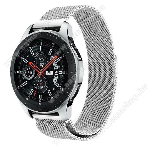 SAMSUNG SM-R760 Gear S3 FrontierOkosóra milánói szíj - rozsdamentes acél, mágneses - EZÜST - 234 mm hosszú, 22mm széles, max 220mm-es csuklóra - SAMSUNG Galaxy Watch 46mm / SAMSUNG Gear S3 Classic / SAMSUNG Gear S3 Frontier