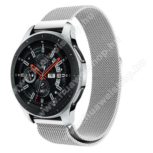 Okosóra milánói szíj - rozsdamentes acél, mágneses - EZÜST - 234 mm hosszú, 22mm széles, max 220mm-es csuklóra - SAMSUNG Galaxy Watch 46mm / SAMSUNG Gear S3 Classic / SAMSUNG Gear S3 Frontier