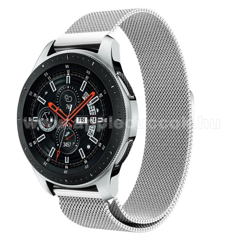 Okosóra milánói szíj - rozsdamentes acél, mágneses - EZÜST - 234 mm hosszú, 22 mm széles, max 220mm-es csuklóra - SAMSUNG Galaxy Watch 46mm / SAMSUNG Gear S3 Classic / SAMSUNG Gear S3 Frontier