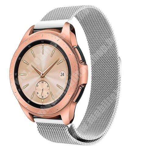 Okosóra milánói szíj - rozsdamentes acél, mágneses - EZÜST - 235 mm hosszú, 20 mm széles, max 225mm-es csuklóra - SAMSUNG Galaxy Watch 42mm / HUAWEI Watch GT 2 42mm