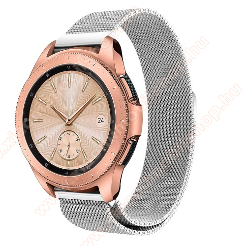Okosóra milánói szíj - rozsdamentes acél, mágneses - EZÜST - 235 mm hosszú, 20mm széles, max 225mm-es csuklóra - SAMSUNG Galaxy Watch 42mm / HUAWEI Watch GT 2 42mm