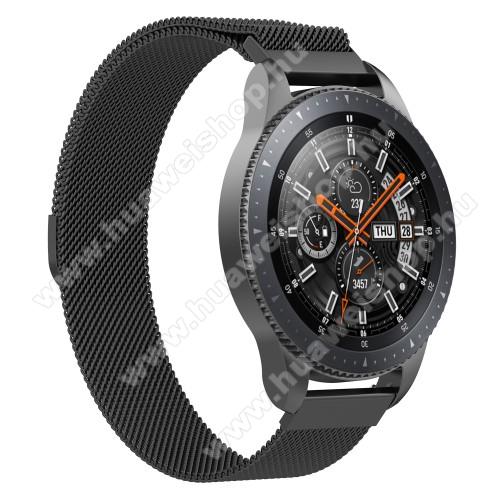Okosóra milánói szíj - rozsdamentes acél, mágneses - FEKETE - 230mm hosszú, 22mm széles - SAMSUNG Galaxy Watch 46mm / SAMSUNG Gear S3 Classic / SAMSUNG Gear S3 Frontier