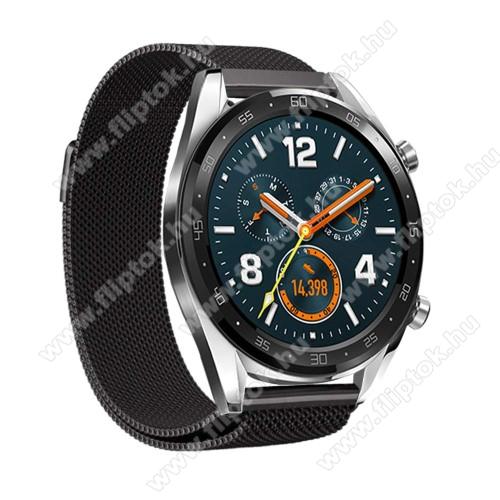 ZTE Watch GTOkosóra milánói szíj - rozsdamentes acél, mágneses - 232mm hosszú, 22mm széles - FEKETE - HUAWEI Watch GT / HUAWEI Watch Magic / Watch GT 2 46mm