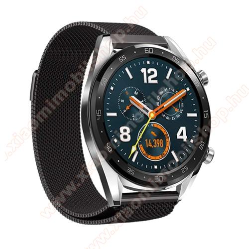 Xiaomi Amazfit Stratos 3Okosóra milánói szíj - rozsdamentes acél, mágneses - 232mm hosszú, 22mm széles - FEKETE - HUAWEI Watch GT / HUAWEI Watch Magic / Watch GT 2 46mm