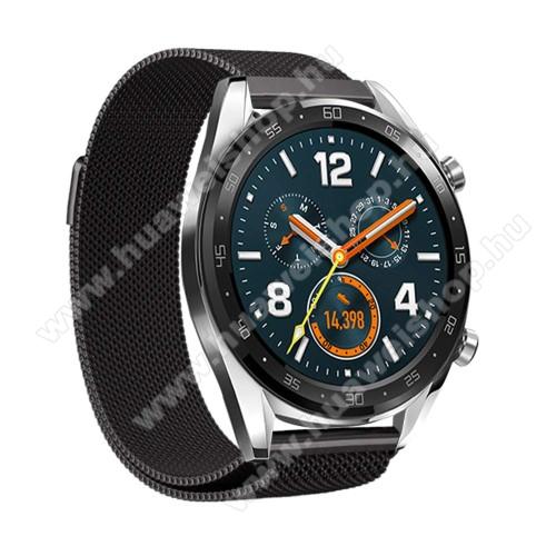 HUAWEI Watch MagicOkosóra milánói szíj - rozsdamentes acél, mágneses - 232mm hosszú, 22mm széles - FEKETE - HUAWEI Watch GT / HUAWEI Watch Magic / Watch GT 2 46mm