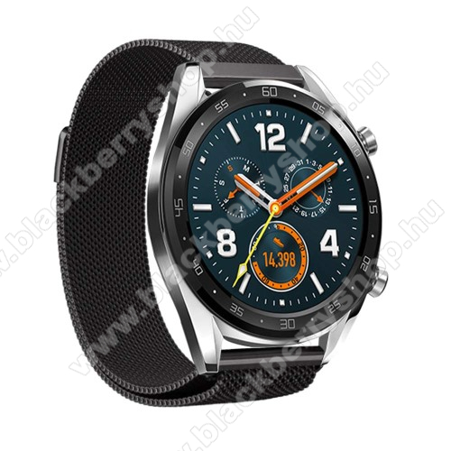 Okosóra milánói szíj - rozsdamentes acél, mágneses - 232mm hosszú, 22mm széles - FEKETE - HUAWEI Watch GT / HUAWEI Watch Magic / Watch GT 2 46mm