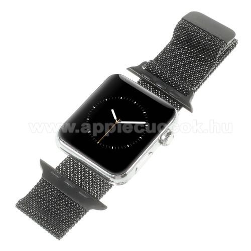APPLE Watch Series 1 38mmOkosóra milánói szíj - rozsdamentes acél, mágneses - FEKETE - 205mm hosszú, 20mm széles - Apple Watch Series 1/2/3 38mm / APPLE Watch Series 4 40mm / APPLE Watch Series 5 40mm