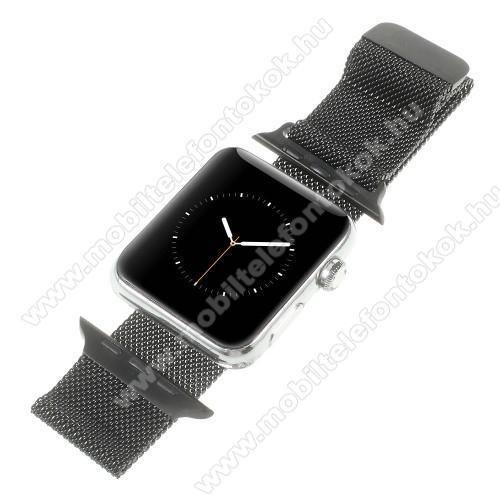 APPLE Watch Series 6 40mmOkosóra milánói szíj - rozsdamentes acél, mágneses - FEKETE - 205mm hosszú, 20mm széles - Apple Watch Series 1/2/3 38mm / APPLE Watch Series 4 40mm / APPLE Watch Series 5 40mm