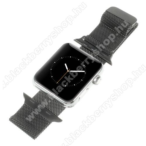 Okosóra milánói szíj - rozsdamentes acél, mágneses - FEKETE - 205mm hosszú, 20mm széles - Apple Watch Series 1/2/3 38mm / APPLE Watch Series 4 40mm / APPLE Watch Series 5 40mm