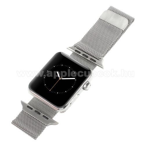 APPLE Watch Series 1 38mmOkosóra milánói szíj - rozsdamentes acél, mágneses - EZÜST - 205mm hosszú, 20mm széles - Apple Watch Series 1/2/3 38mm / APPLE Watch Series 4 40mm / APPLE Watch Series 5 40mm