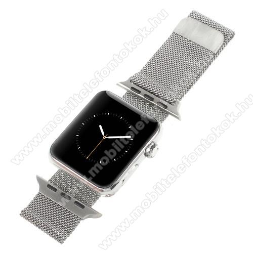 APPLE Watch Series 6 40mmOkosóra milánói szíj - rozsdamentes acél, mágneses - EZÜST - 205mm hosszú, 20mm széles - Apple Watch Series 1/2/3 38mm / APPLE Watch Series 4 40mm / APPLE Watch Series 5 40mm