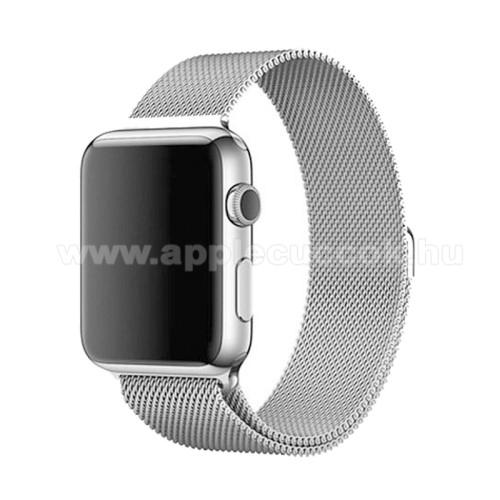 APPLE Watch Series 3 42mmOkosóra milánói szíj - rozsdamentes acél, mágneses - EZÜST - 230mm hosszú, 22mm széles - APPLE Watch Series 3/2/1 42mm / APPLE Watch Series 4 44mm / APPLE Watch Series 5 44mm