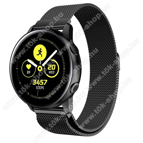 Okosóra milánói szíj - rozsdamentes acél, mágneses - FEKETE - 215mm hosszú, 20mm széles - SAMSUNG Galaxy Watch 42mm / Xiaomi Amazfit GTS / HUAWEI Watch GT / SAMSUNG Gear S2 / HUAWEI Watch GT 2 42mm / Galaxy Watch Active / Active  2 / Galaxy Gear Sport