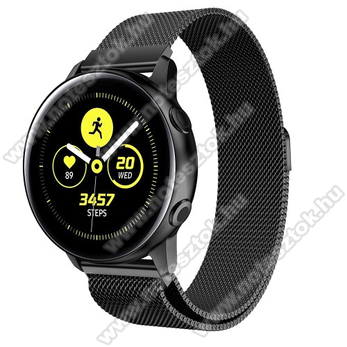 HUAWEI Honor MagicWatch 2 42mm Okosóra milánói szíj - rozsdamentes acél, mágneses - FEKETE - 215mm hosszú, 20mm széles - SAMSUNG Galaxy Watch 42mm / Xiaomi Amazfit GTS / SAMSUNG Gear S2 / HUAWEI Watch GT 2 42mm / Galaxy Watch Active / Active 2