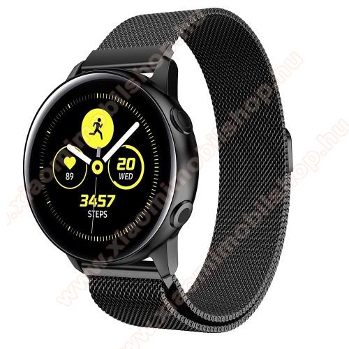 Xiaomi Amazfit GTSOkosóra milánói szíj - rozsdamentes acél, mágneses - FEKETE - 215mm hosszú, 20mm széles - SAMSUNG Galaxy Watch 42mm / Xiaomi Amazfit GTS / SAMSUNG Gear S2 / HUAWEI Watch GT 2 42mm / Galaxy Watch Active / Active 2