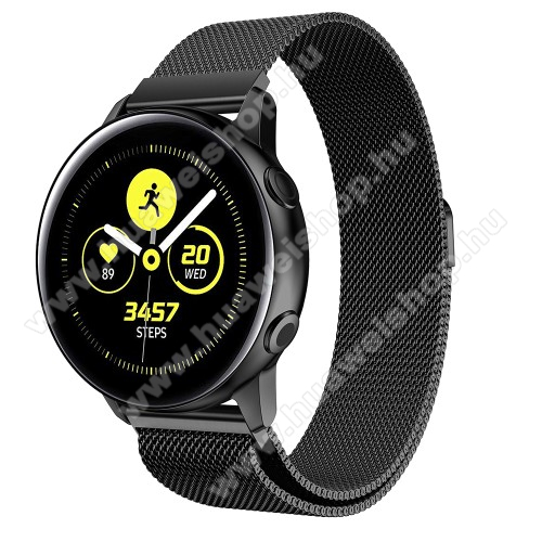 Okosóra milánói szíj - rozsdamentes acél, mágneses - FEKETE - 215mm hosszú, 20mm széles - SAMSUNG Galaxy Watch 42mm / Xiaomi Amazfit GTS / SAMSUNG Gear S2 / HUAWEI Watch GT 2 42mm / Galaxy Watch Active / Active 2