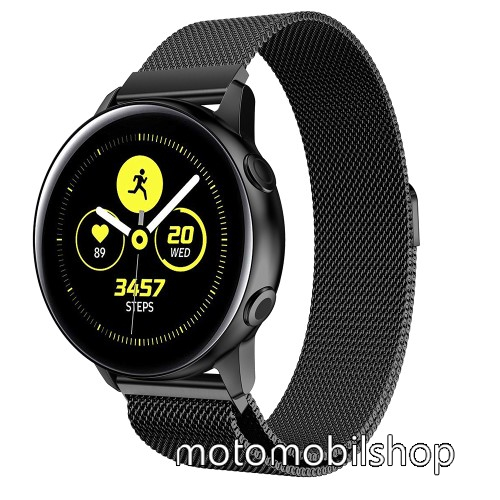 Okosóra milánói szíj - rozsdamentes acél, mágneses - FEKETE - 215mm hosszú, 20mm széles - SAMSUNG Galaxy Watch 42mm / Xiaomi Amazfit GTS /  SAMSUNG Gear S2 / HUAWEI Watch GT 2 42mm / Galaxy Watch Active / Active  2 / Galaxy Gear Sport