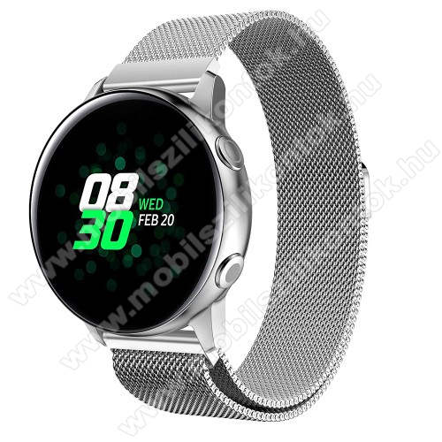 Okosóra milánói szíj - rozsdamentes acél, mágneses - EZÜST - 215mm hosszú, 20mm széles - SAMSUNG Galaxy Watch 42mm / Xiaomi Amazfit GTS / HUAWEI Watch GT / SAMSUNG Gear S2 / HUAWEI Watch GT 2 42mm / Galaxy Watch Active / Active  2 / Galaxy Gear Sport