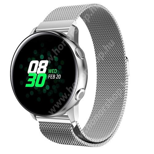 HUAWEI Honor MagicWatch 2 42mm Okosóra milánói szíj - rozsdamentes acél, mágneses - EZÜST - 215mm hosszú, 20mm széles - SAMSUNG Galaxy Watch 42mm / Xiaomi Amazfit GTS / SAMSUNG Gear S2 / HUAWEI Watch GT 2 42mm / Galaxy Watch Active / Active 2