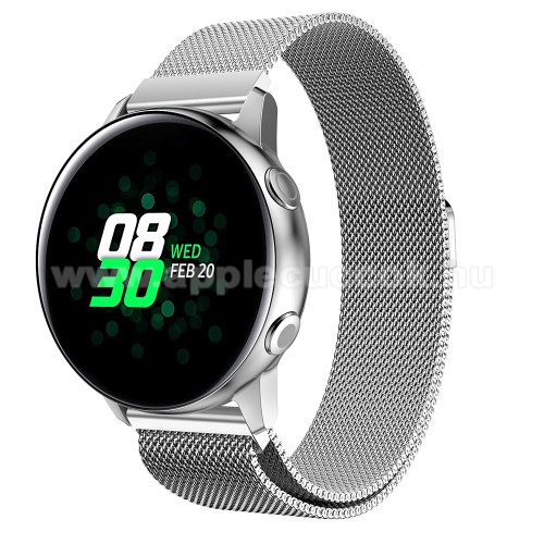 Okosóra milánói szíj - rozsdamentes acél, mágneses - EZÜST - 215mm hosszú, 20mm széles - SAMSUNG Galaxy Watch 42mm / Xiaomi Amazfit GTS / SAMSUNG Gear S2 / HUAWEI Watch GT 2 42mm / Galaxy Watch Active / Active  2 / Galaxy Gear Sport