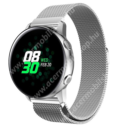 Okosóra milánói szíj - rozsdamentes acél, mágneses - EZÜST - 215mm hosszú, 20mm széles - SAMSUNG Galaxy Watch 42mm / Xiaomi Amazfit GTS / HUAWEI Watch GT / SAMSUNG Gear S2 / HUAWEI Watch GT 2 42mm / Galaxy Watch Active / Active  2 / Galaxy Gear Sport