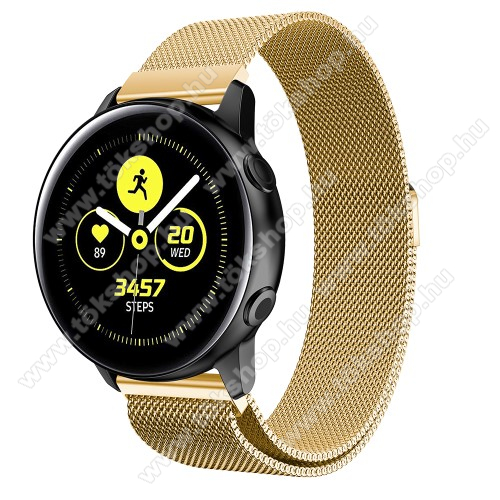 Okosóra milánói szíj - rozsdamentes acél, mágneses - ARANY - 215mm hosszú, 20mm széles - SAMSUNG Galaxy Watch 42mm / Xiaomi Amazfit GTS / SAMSUNG Gear S2 / HUAWEI Watch GT 2 42mm / Galaxy Watch Active / Active 2