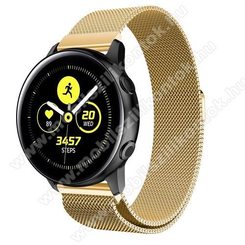 Okosóra milánói szíj - rozsdamentes acél, mágneses - ARANY - 215mm hosszú, 20mm széles - SAMSUNG Galaxy Watch 42mm / Xiaomi Amazfit GTS / SAMSUNG Gear S2 / HUAWEI Watch GT 2 42mm / Galaxy Watch Active / Active 2