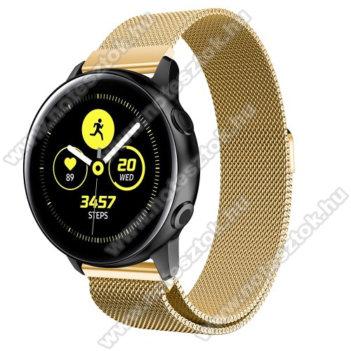 HUAWEI Honor MagicWatch 2 42mm Okosóra milánói szíj - rozsdamentes acél, mágneses - ARANY - 215mm hosszú, 20mm széles - SAMSUNG Galaxy Watch 42mm / Xiaomi Amazfit GTS / SAMSUNG Gear S2 / HUAWEI Watch GT 2 42mm / Galaxy Watch Active / Active 2