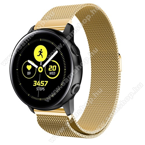 SAMSUNG Galaxy Watch Active2 40mm Okosóra milánói szíj - rozsdamentes acél, mágneses - ARANY - 215mm hosszú, 20mm széles - SAMSUNG Galaxy Watch 42mm / Xiaomi Amazfit GTS / SAMSUNG Gear S2 / HUAWEI Watch GT 2 42mm / Galaxy Watch Active / Active 2