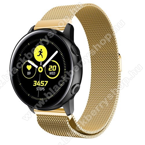 Okosóra milánói szíj - rozsdamentes acél, mágneses - ARANY - 215mm hosszú, 20mm széles - SAMSUNG Galaxy Watch 42mm / Xiaomi Amazfit GTS / HUAWEI Watch GT / SAMSUNG Gear S2 / HUAWEI Watch GT 2 42mm / Galaxy Watch Active / Active  2 / Galaxy Gear Sport
