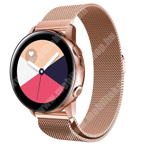 Okosóra milánói szíj - rozsdamentes acél, mágneses - ROSE GOLD - 215mm hosszú, 20mm széles - SAMSUNG Galaxy Watch 42mm / Xiaomi Amazfit GTS / SAMSUNG Gear S2 / HUAWEI Watch GT 2 42mm / Galaxy Watch Active / Active  2 / Galaxy Gear Sport