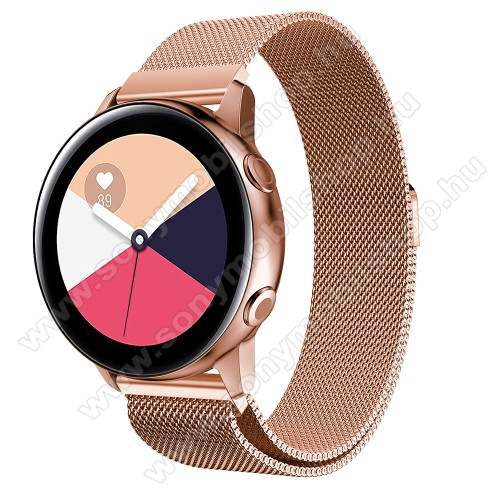 Okosóra milánói szíj - rozsdamentes acél, mágneses - ROSE GOLD - 215mm hosszú, 20mm széles - SAMSUNG Galaxy Watch 42mm / Xiaomi Amazfit GTS / SAMSUNG Gear S2 / HUAWEI Watch GT 2 42mm / Galaxy Watch Active / Active 2