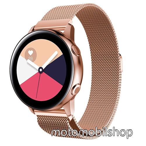 Okosóra milánói szíj - rozsdamentes acél, mágneses - ROSE GOLD - 215mm hosszú, 20mm széles - SAMSUNG Galaxy Watch 42mm / Xiaomi Amazfit GTS / SAMSUNG Gear S2 / HUAWEI Watch GT 2 42mm / Galaxy Watch Active / Active  2 / Galaxy Gear Sport