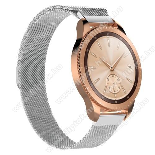 EVOLVEO SPORTWATCH M1SOkosóra milánói szíj - rozsdamentes acél, mágneses - 215mm hosszú, 20mm széles - EZÜST - SAMSUNG Galaxy Watch 42mm / Xiaomi Amazfit GTS / SAMSUNG Gear S2 / HUAWEI Watch GT 2 42mm / Galaxy Watch Active / Active 2