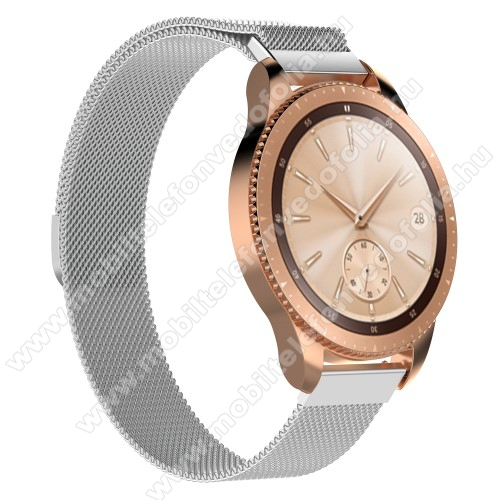 Xiaomi 70mai SaphirOkosóra milánói szíj - rozsdamentes acél, mágneses - 215mm hosszú, 20mm széles - EZÜST - SAMSUNG Galaxy Watch 42mm / Xiaomi Amazfit GTS / SAMSUNG Gear S2 / HUAWEI Watch GT 2 42mm / Galaxy Watch Active / Active 2