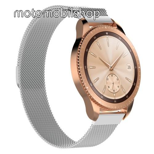 Okosóra milánói szíj - rozsdamentes acél, mágneses - 215mm hosszú, 20mm széles - EZÜST - SAMSUNG Galaxy Watch 42mm / Xiaomi Amazfit GTS / SAMSUNG Gear S2 / HUAWEI Watch GT 2 42mm / Galaxy Watch Active / Active 2