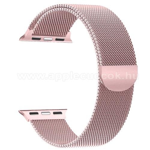 APPLE Watch Series 3 42mmOkosóra milánói szíj - rozsdamentes acél, mágneses - RÓZSASZÍN - APPLE Watch Series 3/2/1 42mm / APPLE Watch Series 4 44mm / APPLE Watch Series 5 44mm