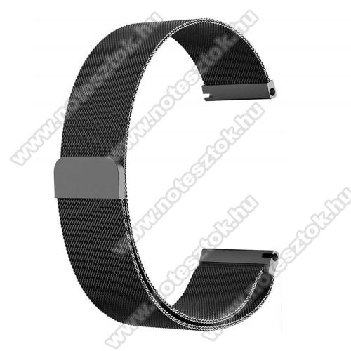 ZTE Watch GTOkosóra milánói szíj - rozsdamentes acél, mágneses - 235mm hosszú, 22mm széles - FEKETE - HUAWEI Watch GT / HUAWEI Watch Magic / Watch GT 2 46mm