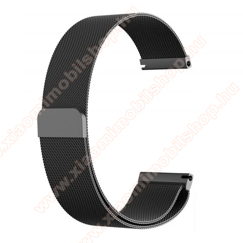 Xiaomi Amazfit Stratos 3Okosóra milánói szíj - rozsdamentes acél, mágneses - 235mm hosszú, 22mm széles - FEKETE - HUAWEI Watch GT / HUAWEI Watch Magic / Watch GT 2 46mm