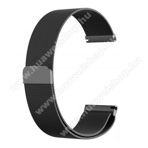 HUAWEI Watch MagicOkosóra milánói szíj - rozsdamentes acél, mágneses - 235mm hosszú, 22mm széles - FEKETE - HUAWEI Watch GT / HUAWEI Watch Magic / Watch GT 2 46mm