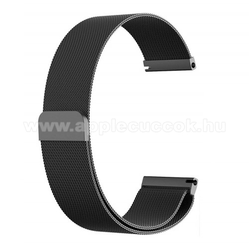 Okosóra milánói szíj - rozsdamentes acél, mágneses - 235mm hosszú, 22mm széles - FEKETE - HUAWEI Watch GT / HUAWEI Watch Magic / Watch GT 2 46mm