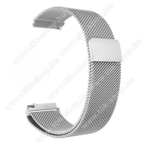 Okosóra milánói szíj - rozsdamentes acél, mágneses - 235mm hosszú, 22mm széles - EZÜST - HUAWEI Watch GT / HUAWEI Watch Magic / Watch GT 2 46mm