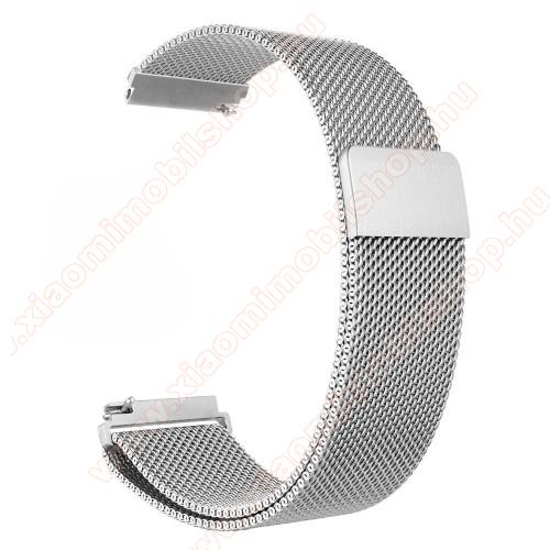 Xiaomi Amazfit PaceOkosóra milánói szíj - rozsdamentes acél, mágneses - 235mm hosszú, 22mm széles - EZÜST - HUAWEI Watch GT / HUAWEI Watch Magic / Watch GT 2 46mm