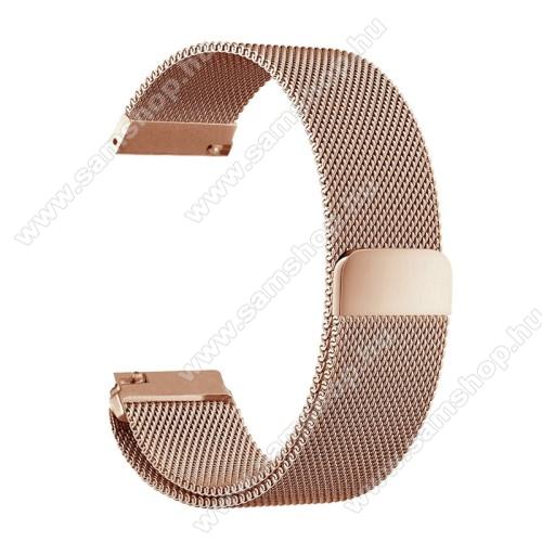 Okosóra milánói szíj - rozsdamentes acél, mágneses - 235mm hosszú, 22mm széles - ROSE GOLD - HUAWEI Watch GT / HUAWEI Watch Magic / Watch GT 2 46mm