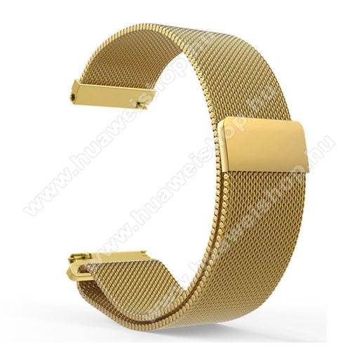 HUAWEI Watch GT 46mmOkosóra milánói szíj - rozsdamentes acél, mágneses - 235mm hosszú, 22mm széles - ARANY - HUAWEI Watch GT / HUAWEI Watch Magic / Watch GT 2 46mm
