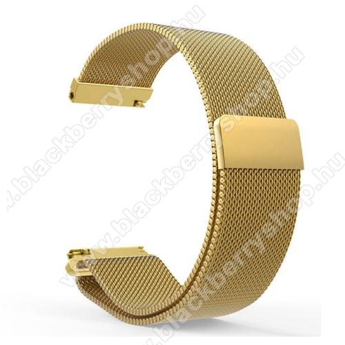 Okosóra milánói szíj - rozsdamentes acél, mágneses - 235mm hosszú, 22mm széles - ARANY - HUAWEI Watch GT / HUAWEI Watch Magic / Watch GT 2 46mm