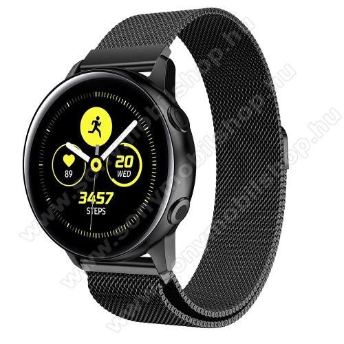 Okosóra milánói szíj - rozsdamentes acél, mágneses - 20mm széles, 140-225mm csuklóméretig ajánlott - FEKETE - SAMSUNG Galaxy Watch 42mm / Xiaomi Amazfit GTS / SAMSUNG Gear S2 / HUAWEI Watch GT 2 42mm / Galaxy Watch Active / Active 2